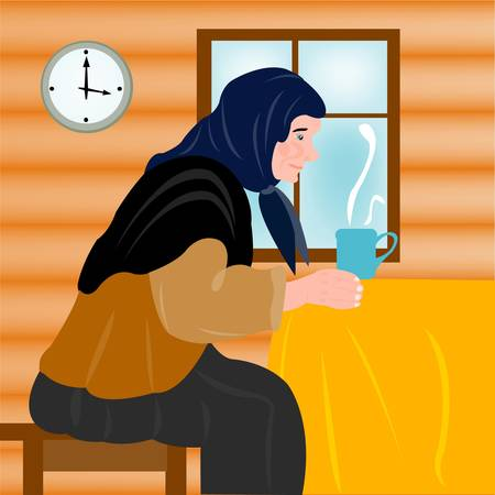 Aging grandmother in house and mug of hot tea Vector