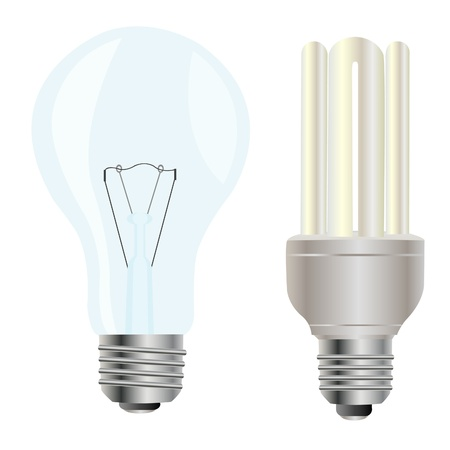Electric light bulbs on white background Stock Vector - 9184074