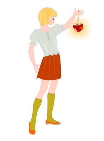keeps: Girl keeps in hand red heart Illustration
