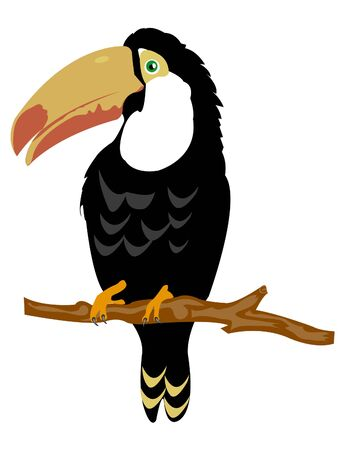 Illustration of the bird sitting on branch on white background Vector
