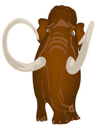 Big prehistorical mammoth on white background