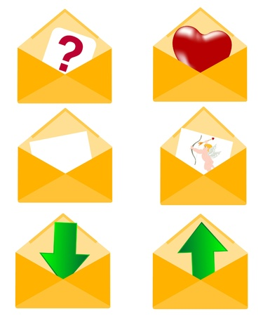 Postal envelopes with miscellaneous by contents Stock Vector - 9395723