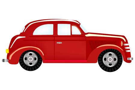 Old-time red car on white background Stock Vector - 9395731
