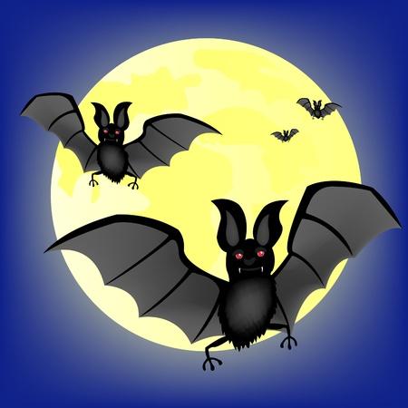 Bat vampire on background of the moon 일러스트