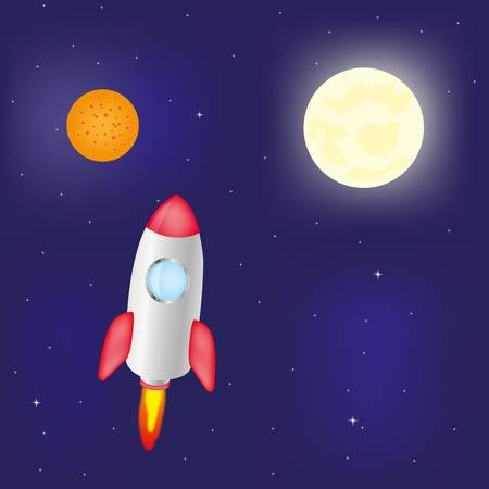 Rocket flying to distant planet Vector