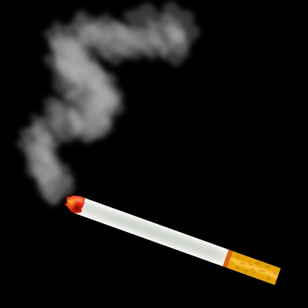 alight: Smoking cigarette with filter on black Illustration