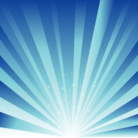Blue background with ray and asterisk