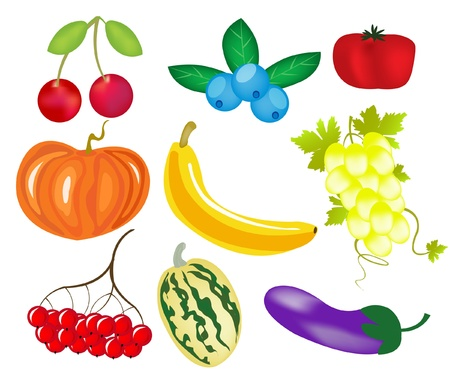 banana sheet: Varied fruits and berries on white background Illustration