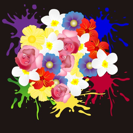 inkblots: Colorful background with flower of the miscellaneous of the colour