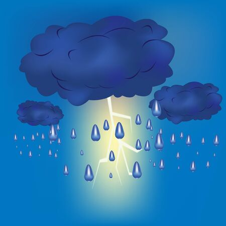 Cloud with rain and lightning Stock Vector - 9589852