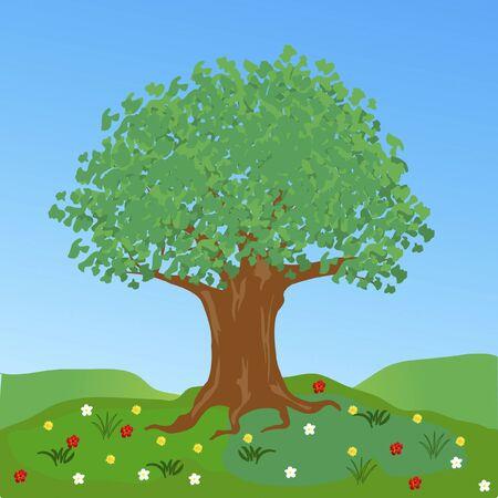 flowerses: Tree on glade in encirclement flower