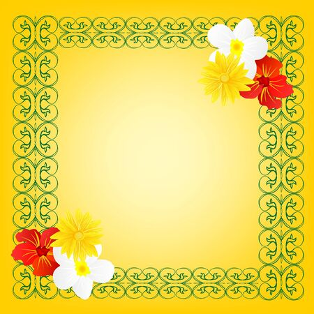 Yellow frame with flower and pattern Stock Vector - 9589740