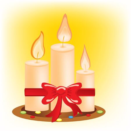 alight: Three alight candles and festive bow Illustration