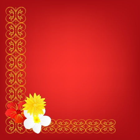 flowerses: Red background with pattern and flower