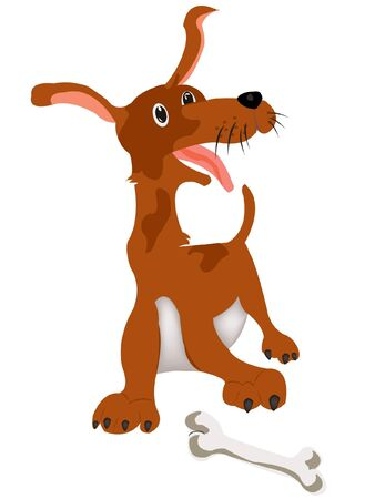 Nice cartoon dog on white background Vector