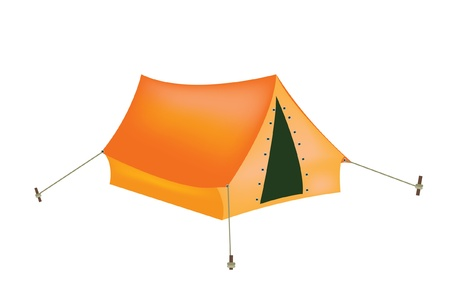 tarpaulin: Red tourist tent on white background is insulated
