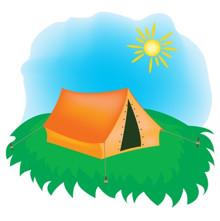 tarpaulin: Tarpaulin tent on green glade Illustration