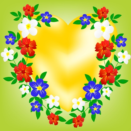 flowerses: Sign heart decorated by miscellaneous flower and sheet