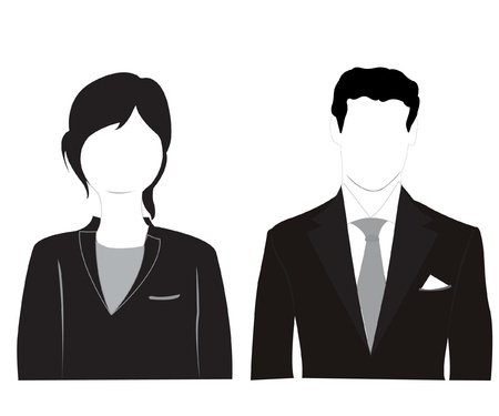 Silhouette men and women on white background is insulated Illustration