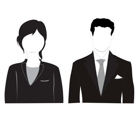 Uomini e donne silhouette su sfondo bianco è isolato Vettoriali