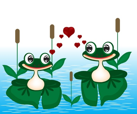 illustration two frogs 일러스트