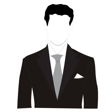 suit tie:  silhouette men in black suit