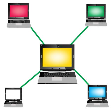 Computers united in internet network Stock Vector - 10356626