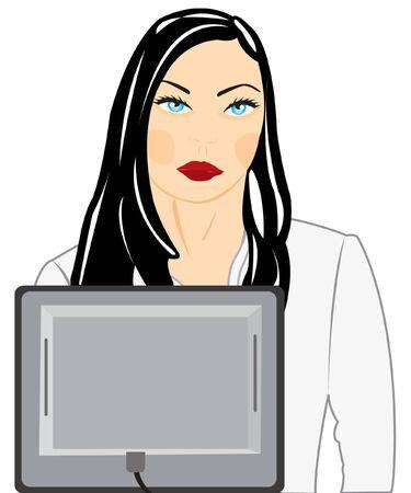 コンピューターのための女の子のイラスト  イラスト・ベクター素材
