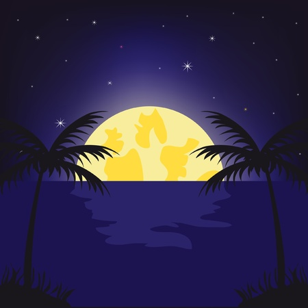rise of the moon beside tropical coast Vector