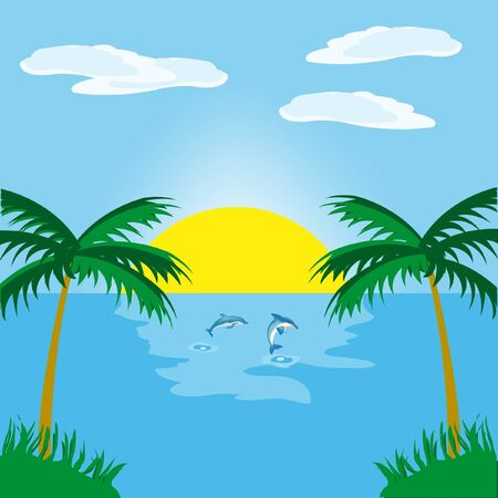 Sunrise in ocean beside tropical coast Vector