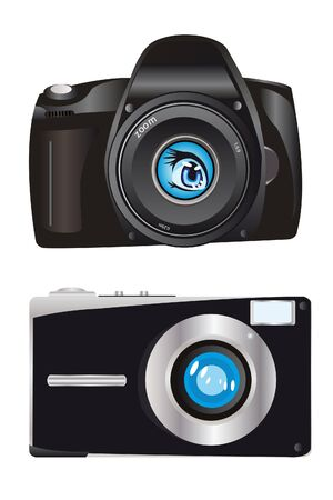 Two digital cameras on white background Stock Vector - 11313689