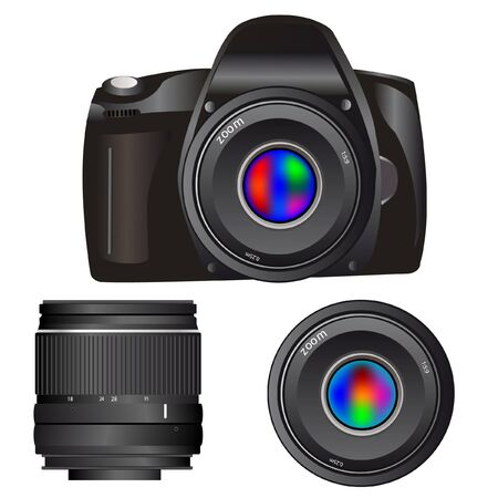 Camera and lenses on white background is insulated Stock Vector - 11313692
