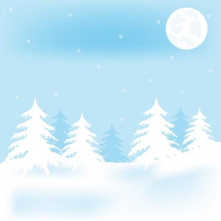 Illustration winter wood