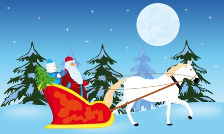 Fairy-tale santa claus goes to sled on white