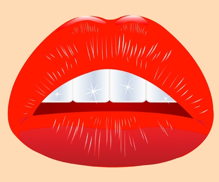 briliance: Beautiful feminine lips and brilliant teeths