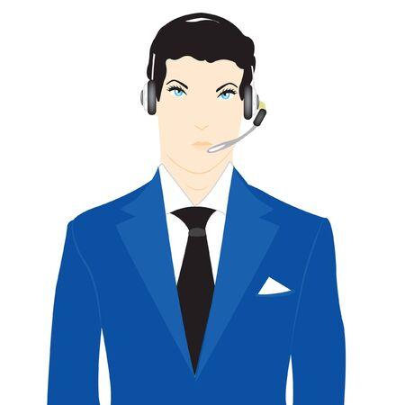 Vector illustration men operator on white background Stock Vector - 12063566