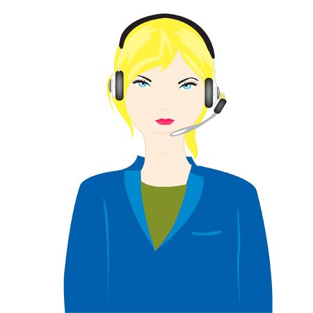 Vector illustration of the girl of the operator on white background Stock Vector - 12063567