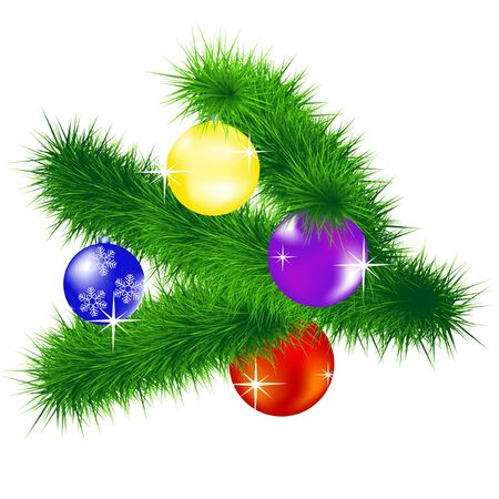 Vector illustration of the branch of the fir tree with toy Vector