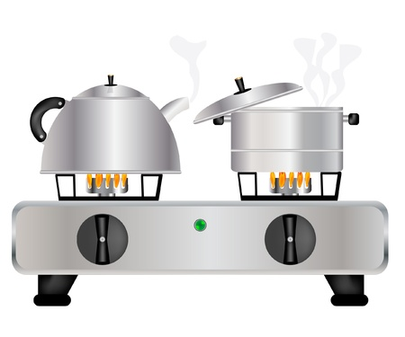 Vector illustration of the teapot and saucepans on gas lash