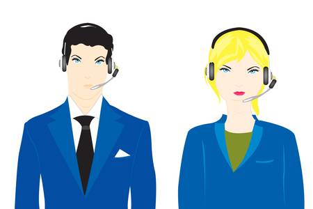 Vector illustration men and women in earphone Vector