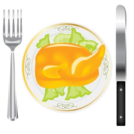 Fried ham on plate.Vector illustration Vector