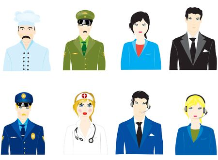 varied: Vector icons of the people varied profession on white background