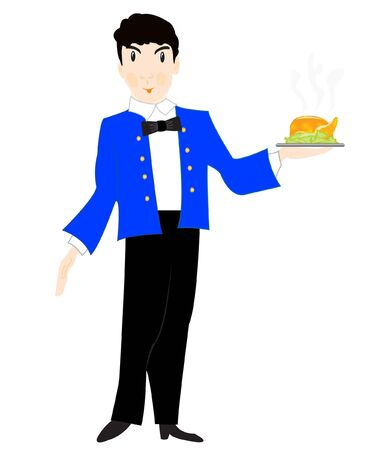 Vector illustration of the waiter with dish on white background