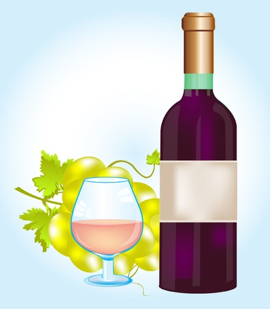 Illustration of the bottle red blame and grape Vector