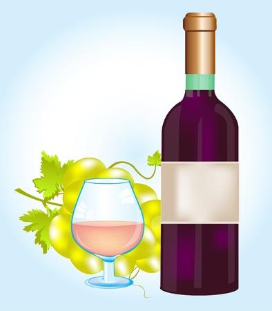 Ilustraci�n de la culpa de color rojo botella y uvas Foto de archivo - 12215478