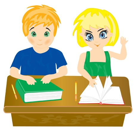 Boy and girl sit for school desk in school Stock Vector - 12267744