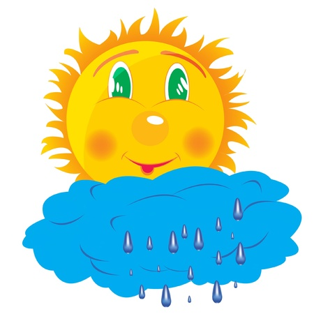 Illustration sun and clouds on white background