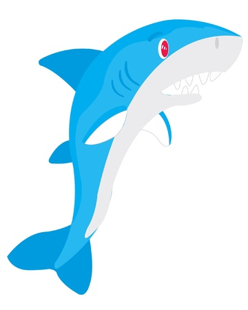 teeths: Illustration of ravenous fish of the shark on white background