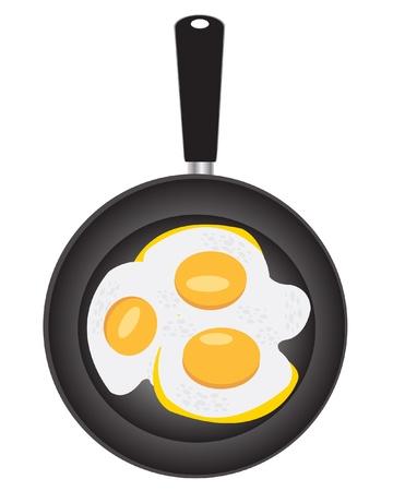 Illustration of the omelette from egg on griddle