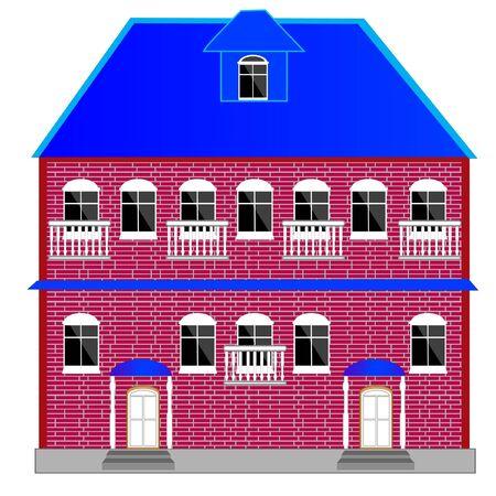Illustration of the big brick building on white background Illustration